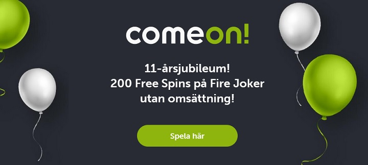 ComeOn casinobonus med 200 free spins